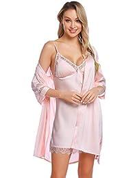 Aibrou Batas Mujer Sexy Encaje Conjuntos,Pijama de Satén Camisón Seda Elegante Cortos para Mujer Novia…