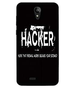Case Cover Hacker Slogan Printed Black Soft Back Cover For Swipe Konnect Plus