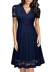 Miusol® Damen Abendkleid 1950er Vintage Kleid Elegant Sommerkleid V-Ausschnitt Kurzarm Spitzen Party CocktailKleid Schwarz EU 36-46