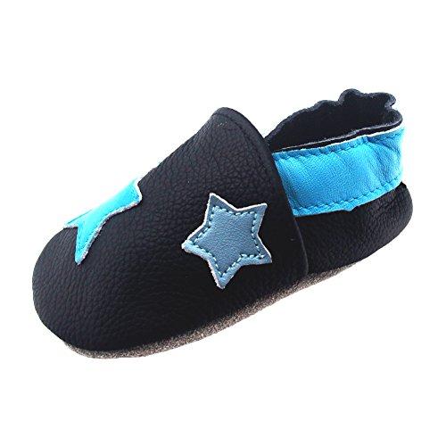 iEvolve Baby Mädchen Jungen Sterne Babyschuhe Baby Weiche Sohle Lederschuhe Baby Lauflernschuhe Krabbelschuhe(Blau Sterne,12-18 Monate)