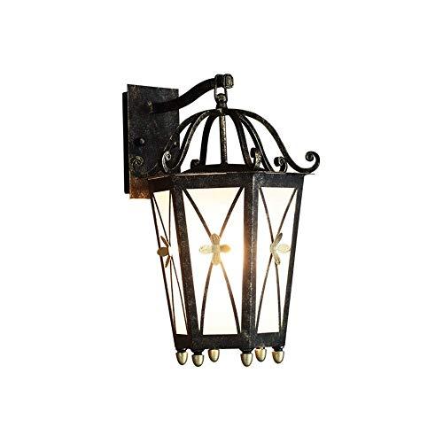 DWLXSH Ein-Licht-Außenwand-Laterne, Leuchter-antike Schmiedeeisen-Metallgaragen-Wand-Leuchter-Beleuchtung, Außenwand-Lampe, regensichere Außenwandlampe -