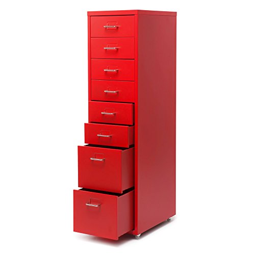 Ritioner Metall rot Schrank Moderne Schublade Aktenschrank abnehmbare Mobile Stahl Aktenschränke w / 8 Schubladen 4 Rollen geeignet für Büro, Schlafzimmer, Wohnzimmer, Küche, Esszimmer -