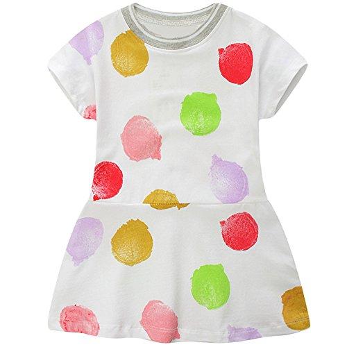 SANFASHION Kinder Mädchen Sommer Kurzarm Rundhals T Shirt Kleid Princess Punkte Kleinkind Minikleid Sommerkleider