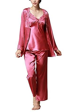 Dolamen Femme Pyjamas, Femmes Ensemble de Pyjama Satin, 3-in-1 Luxe & Lingerie Dentelle Satin Ensemble pyjama en, Manche Longue & Pantalon alon Longue (XX-Large, Rose)