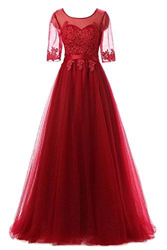 CoutureBridal® Robe Longue de Cocktail Bal Soirée Demoiselle d'honneur Applique Dentelle Tulle Rouge