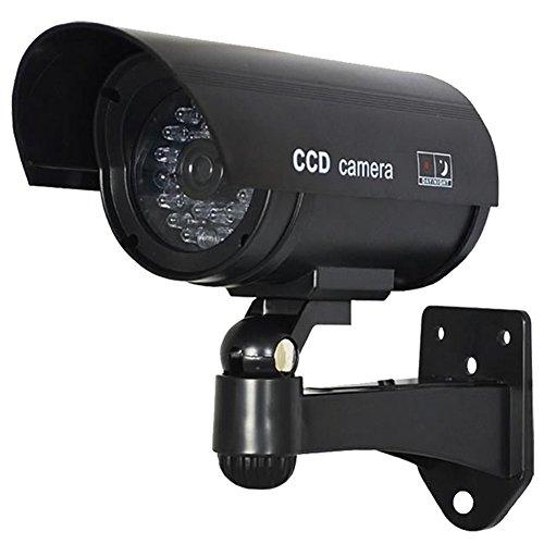IR Kamera Attrappe, Fake, für innen und außen Sicherheit IR Kamera CCTV Überwachungskamera LED Blinklicht realistisch wirkende, wasserdicht) Schwarz, schwarz