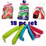 K Kudos Enterprise Plastic Food Snack Bag Pouch Clip Sealer For Keeping Food Fresh - Pack Of 18 In 3 Different Sizes (Multicolour)