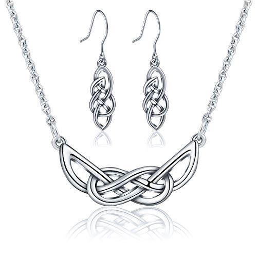Silberschmuck-set, AEONSLOVE 925 Sterling Silber Ohrringe + Keltischer Knoten Anhänger Ewige Liebe Halskette Mit 18