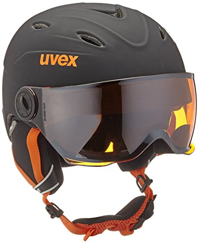 UVEX Kinder Junior Visor Pro Skihelm, Black-Orange Mat, 54-56 cm