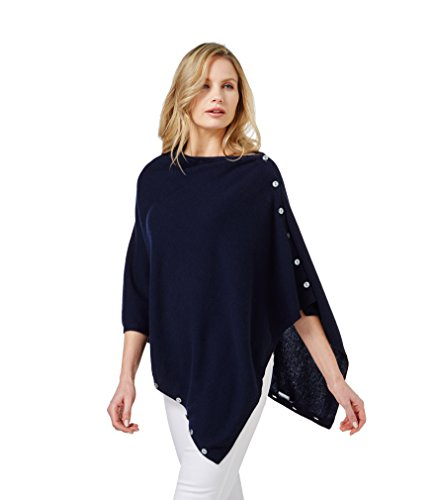 WoolOvers Poncho boutonné - Femme - Cachemire & Mérinos Navy
