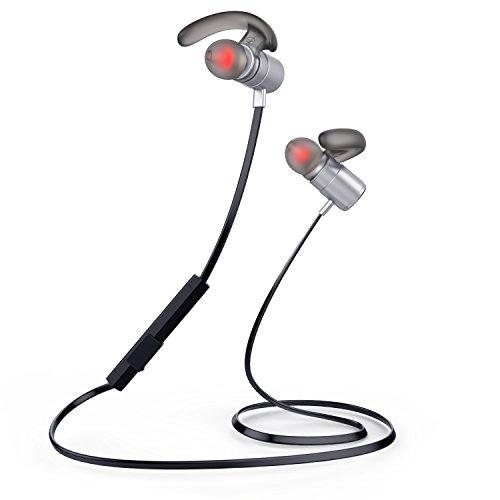 SGIN Auriculares Bluetooth 4.2, Auriculares Estéreo Inalámbricos con micrófono Deporte Resistente al Sudor para reproductor iPhone, Smartphone, Tablet etc(gris) - Fozento