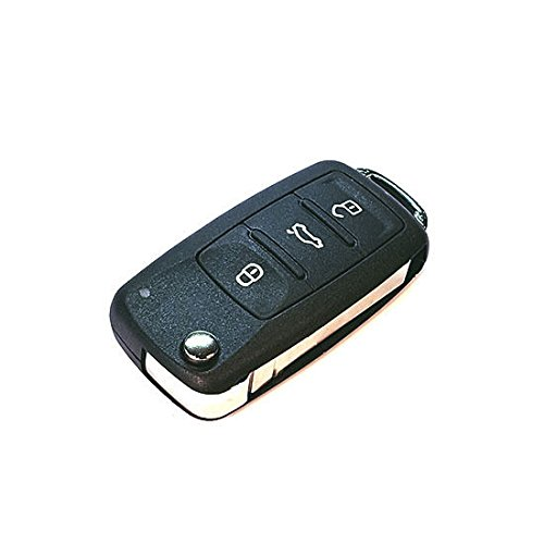Jurmann Trade GmbH® VW ks46 1x Ersatz Schlüsselgehäuse - 3 Taste Autoschlüssel Klappschlüssel mit Rohling Schlüssel Fernbedienung Funkschlüssel Neu Gehäuse ohne Elektronik