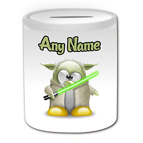 Personalisiertes Geschenk–Master Yoda Spardose (Pinguin Film Charakter Design Thema, weiß)–Jeder Name/Nachricht auf Ihre Einzigartiges–Kostüm Film Superheld Hero Star Wars Jedi Lichtschwert Laser Sword