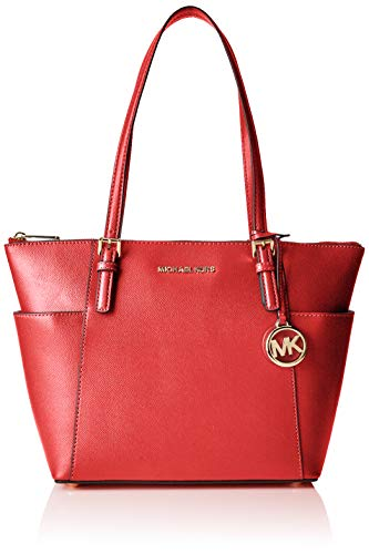 Michael Kors - Jet Set Top-zip Tote, Bolsos totes Mujer, Rojo (Bright Red), 11.4x25.4x38.1 cm (B x H...