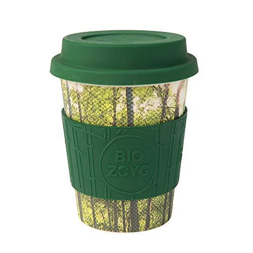 BIOZOYG Ecoffee Cups I Thermo Kaffeebecher Bambus mit Deckel aus Silikon und Silikonmanschette I Trinkbecher Melamin Tee Becher I Kaffee to go Becher 400 ml