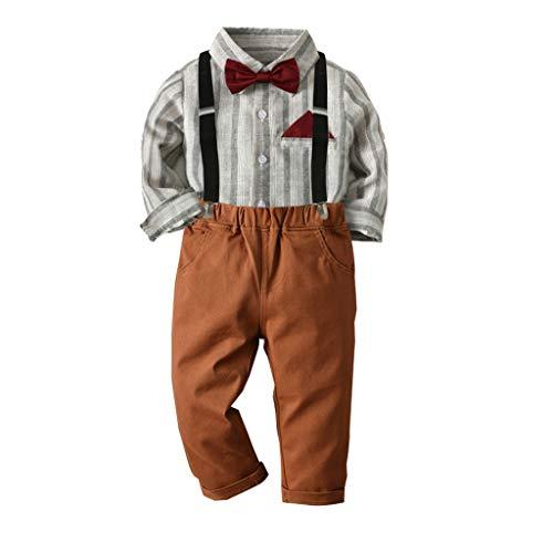 Anglewolf Kleinkind Baby Jungen Bekleidung Kurzarm/Langarm Fliege Gentleman Infant Boys Hemd T-Shirt Tops + Feste Shorts/Hose Outfits Kleidung Bowknot Shirt HosenträGer Outfit Set(B Braun,120)