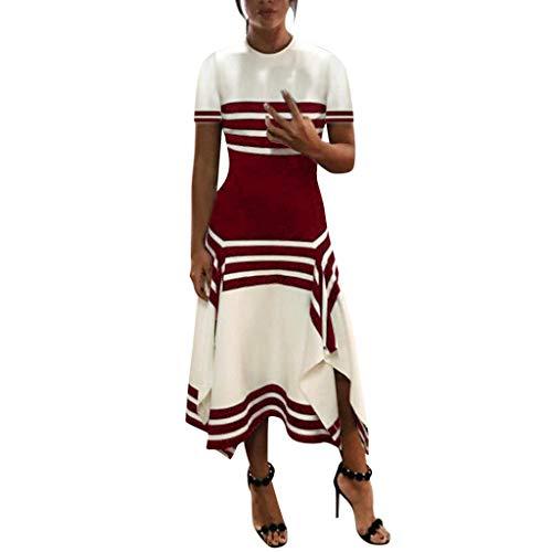 Lucky Mall Frauen Mode Streifen Kurzärmliges Kleid mit Unregelmäßiger Saum, Damen Rundhals Tank Rock Sommer Lässiges Lockeres Kleid Strandrock Urlaubsrock Festkleid
