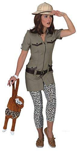 Fancy Me Damen Dschungel Safari Explorer Tv Film Welttag des Buches-Tage-Woche Job Beruf Kostüm Kleid Outfit - Khaki, UK 8 (EU - Dschungel Tag Kostüm