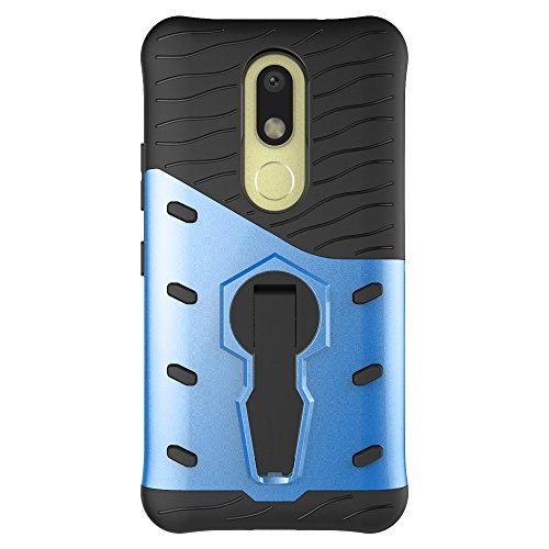 Für Moto M / XT1662 Fall Neue Rüstung Tough Style Hybrid Dual Layer Rüstung Defender Soft TPU / PC Rückseitige Abdeckung Fall Mit 360 ° Stand [Shockproof Case] ( Color : Red ) Blue