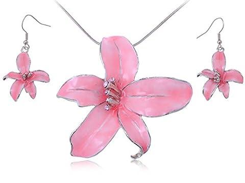Silver Tone émail Rose-Hawaiian Tropic Island Collier Boucle d'oreille en forme de fleur