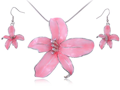 silvery-tone-rose-pink-enamel-hawaiian-tropic-island-flower-necklace-earring-set