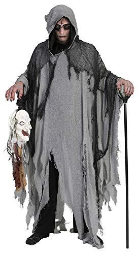 Halloween Umhang mit Kapuze - Grau - Gruseliges Ghul Tod Zombie Kostüm für Halloween, Mottoparty oder Karneval