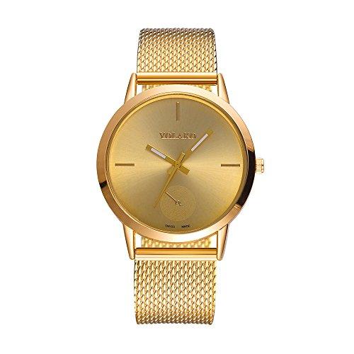 XZDCDJ Damen Uhr Armbanduhr Bracelet Jungen Uhr Modische hohe Härte Glas Spiegel Männer und Frauen allgemeine Mesh Gürtel Uhr Gold 218 -