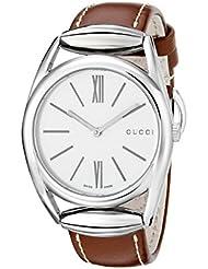 Gucci Damen-Armbanduhr Horsebit Analog Quarz Leder YA140402