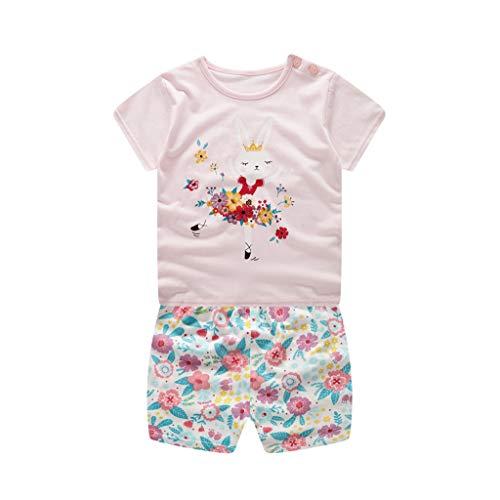 JUTOO  Säuglingsbaby-Mädchen-Karikatur-gedrucktes Kurzarm-Shirt + Shorts-Ausstattungs-Set (Rosa,73)