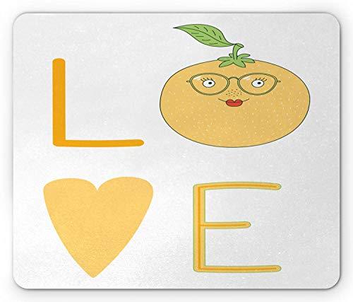 Geeky Mouse Pad, Love Schriftzug mit Einer Nerdy Orange Brille, Standardgröße Rechteck rutschfeste Gummi-Mousepad, Erdgelb Pistaziengrün Zinnoberrot Weiß,Gummimatte 11,8