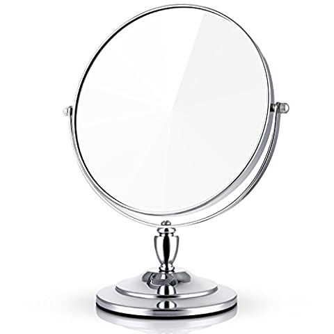 Miusco 1X / 7X Magnifying Double Sided 7 3/4 Inch Large Tabletop Makeup Cosmetic Mirror, Round