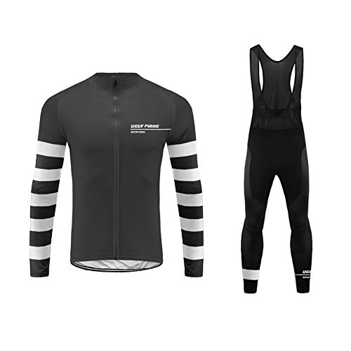 Uglyfrog Radsport Anzüge Herren Winter Warm halten with Fleece Langarm-Radsport-Trikot+Lange Lätzchen Dicht with Gel Pad Breathable Classic Bicycle Set