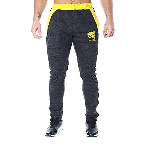 SMILODOX Slim Fit Jogginghose Herren | Trainingshose für Sport Fitness Gym Training & Freizeit | Sporthose - Jogger Pants - Sweatpants Hosen - Freizeithose Lang Mehrfarbig (Anthrazit/Gelb)