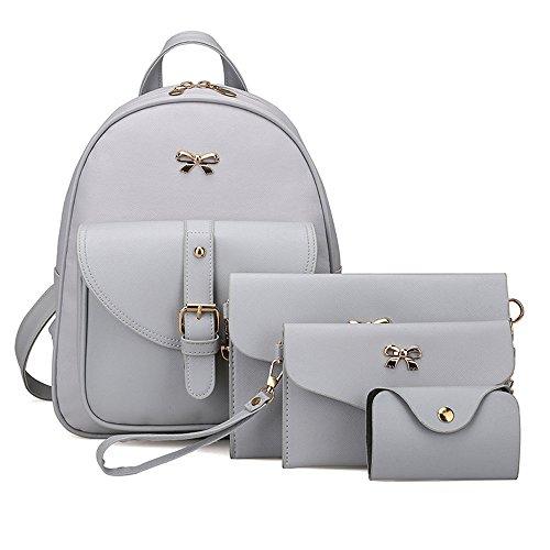 Brezeh, Taschenset für Damen mit Rucksack, Handtasche, Portemonnaie, Kartenetui (4-teilig) grau