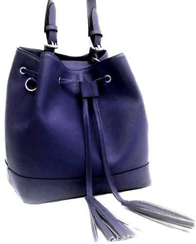DEEP ROSE Borsa secchiello in Vera Pelle Donna Made in Italy spalla mano shopper bucket bag con tracolla regolabile ANDREA blu notte