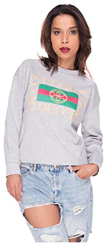 Longsleeve Shirt Damen Sweater Stripes Sweatshirt Streifen Pulli T-Shirt Top Oberteil Oucci Logo Hellgrau S/M (Jumper Stripe)