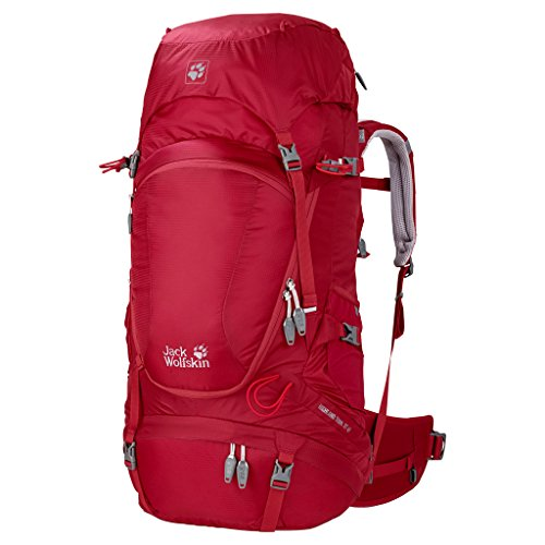 Jack Wolfskin Damen Rucksack Highland Trail, Dark Steel, 59 x 33 x 10 cm, 45 Liter, 2003031-6032 Indian Red