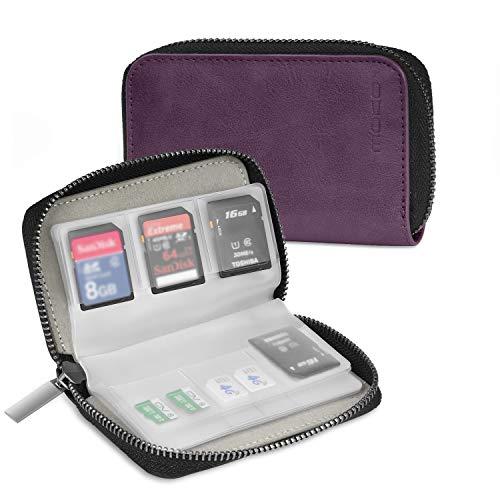 MoKo Speicherkarten Tasche - PU Leder SD Case Aufbewahrung Tragetasche Box Etui, 22 Speicherkarten (8 Seiten) für SD CF SDHC SDXC MMC TF Nintendo Switch Spiele, Violett