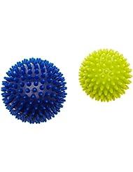 Hudora Fitness 9 76769 Lot de 2 Balles de Mmassage Ball 2pièces, Bleu/Jaune, 9, 76769