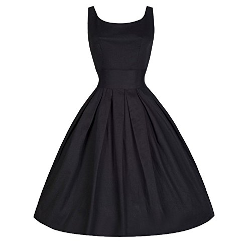 Lenfesh Damen 50er Vintage Retro Kleid Party Kurzarm Hausfrau Rockabilly Cocktail Abendkleider (L, ()