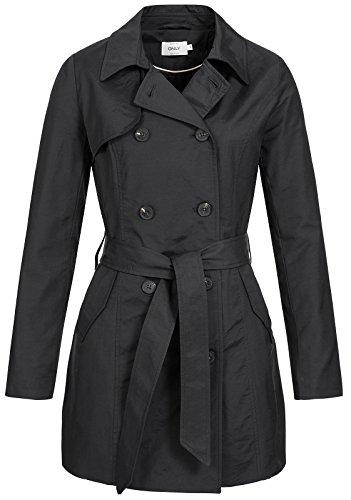 ONLY Damen Mantel Onllucy Long Trenchcoat CC Otw, Schwarz (Black Black), 42 (Herstellergröße: XL)