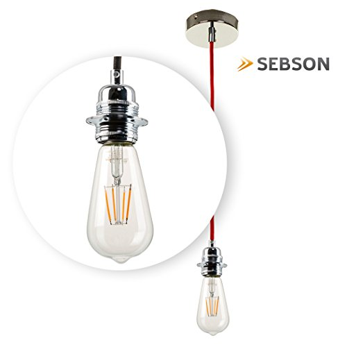 SEBSON Hängelampe ohne Schirm, Lampenfassung mit Textilkabel, inkl. E27 LED Edison Lampe 4W 2300K, 150cm lang, rot - 2