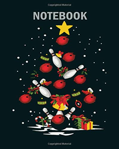Notebook: bowling christmas tree light funny - 50 sheets, 100 pages - 8 x 10 inches