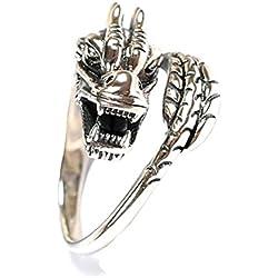 Lorina S925plata de ley 25karats Lucky Dragón Chino Loong grabado vintage ajustable anillos Pareja anillos para mujer hombre rezar religiosa anillos