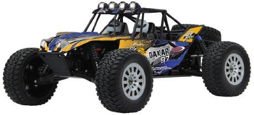 Jamara 053292 - Dakar Desertbuggy 1:10 BL 4WD Lipo 2,4G LED - Allrad, Brushless, Akku, 60Kmh, Aluchassis, spritzwasserfest, Öldruckstoßdämpfer, Überrollkäfig,Kugellager,Fahrwerk einstellbar,fahrfertig