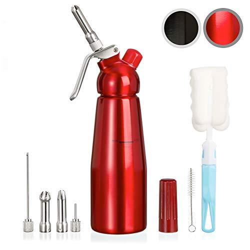 Amazy Sahnespender inkl. 5 Edelstahl Tüllen + 2 Reinigungsbürsten - Profi Sahnesyphon aus Aluminium für die Zubereitung von Schlagsahne, Creme, Mousse, Espuma & Co. (Rot | 500 ml)