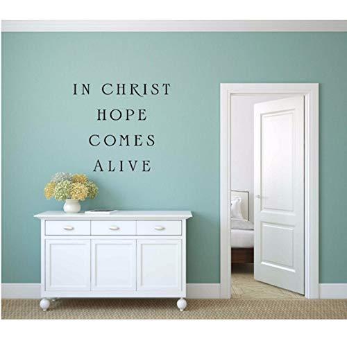 Wandaufkleber Zitate in Christus Hoffnung kommt lebendig Wandtattoo Wohnzimmer Vinyl Home Decor Houseware Zeichen 46x42cm ()