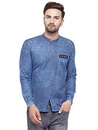 Ben Martin Men's Regular Fit Denim Shirt, 38(Dark Blue, BMW-DNSHIRT-CH-DB-38)