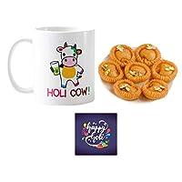 "YaYa Cafeâ""¢ Holi Sweets Gift Combo Holi Cow Mug, Coaster, Chandrakala - 1kg"