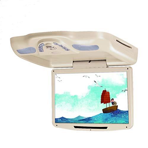 11,3 Zoll Auto Monitor Dach Decke Flip Down TFT LCD-Bildschirm Mount DVD-Player mit USB/SD/IR/FM Transmitter/Lautsprecher/Spiel,Beige